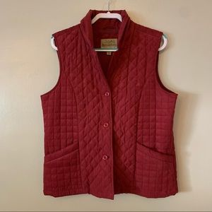 Cabelas Women's Outerwear Burgundy Quilted Button Up Vest Size Large Pockets